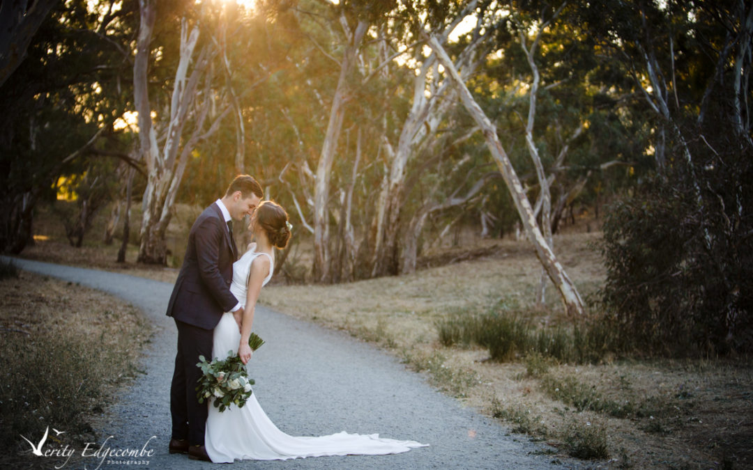 Romantic image of bride and groom in Adelaide foothills